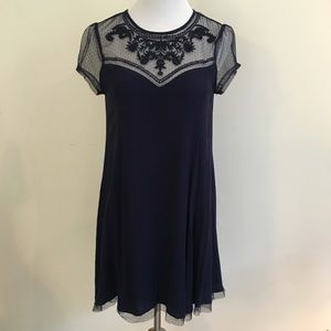 Navy Crinkled Embroidered Gauze & Lace Dress S